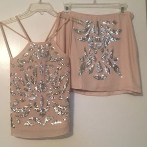 Light Pink sequin top and skirt set